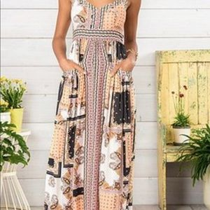 Matilda Jane Dresses - Pink & White Perfectly Paisley Sleeveless Maxi